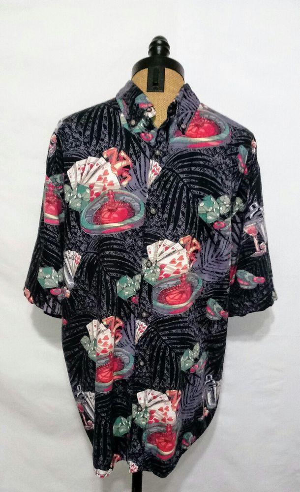 Boca Classics Men's Roulette Wheel 777 Hawaiian Style Button Front Shirt Size XL #BocaClassics #Hawaiian