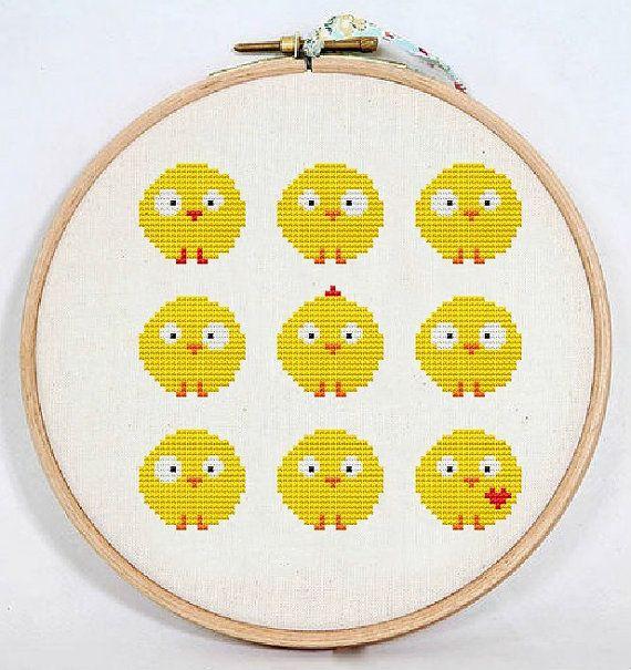 Сross stitch pattern PDF / JPEG Instant Download - Cute chickens, Easter cross stitch