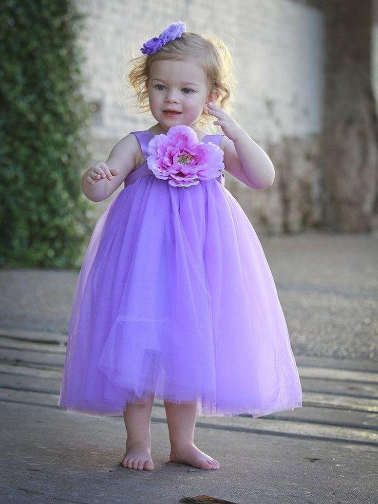 A-line Square Neckline Tulle Tea-length Flower(s) New Style Flower Girl Dresses