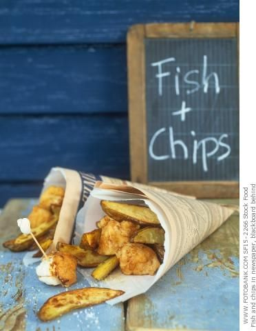 Fish & chips wrapped in newspaper  One of the things I miss most from when I was in England!!!