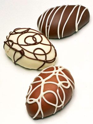 Make these easy chocolate candies for Easter baskets or to serve with Easter dinner. Pudding mix provides the chocolate for the centers. For the coating, you can choose either dark chocolate, milk chocolate, or white chocolate/dcc