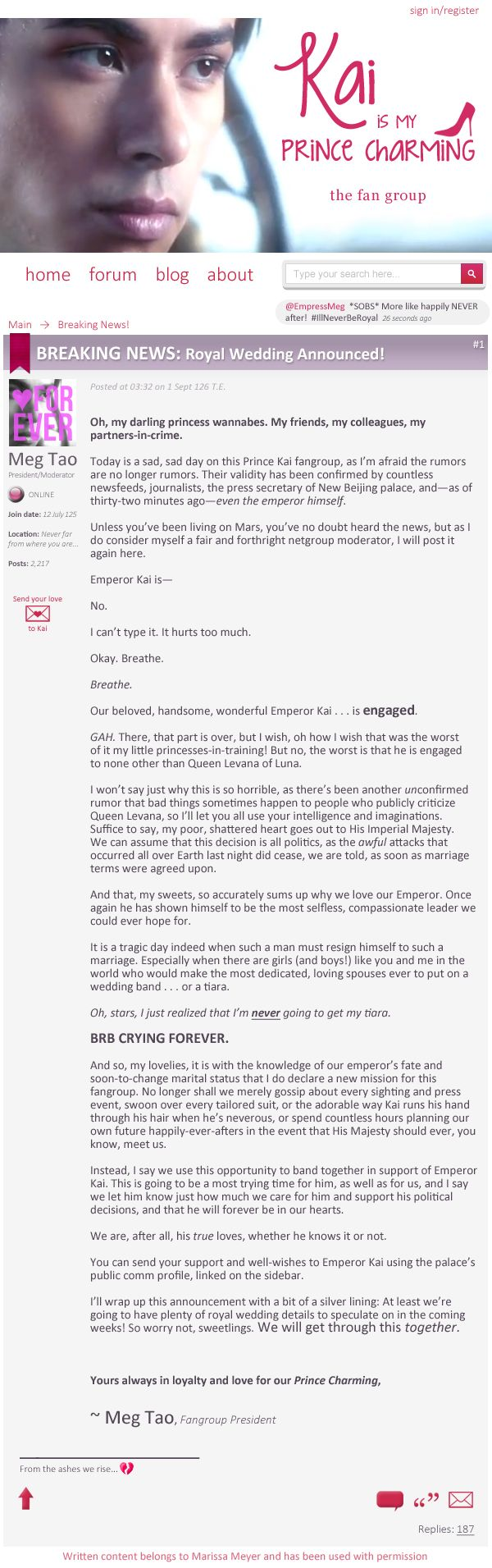 """Breaking News! Royal Wedding Announced!"" Kai's Fanclub President is devastated... - #Cress Blog Tour 2014"