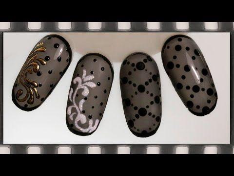 Дизайн ногтей колготки гель-лаком - 4 идеи. Маникюр черная вуаль - YouTube