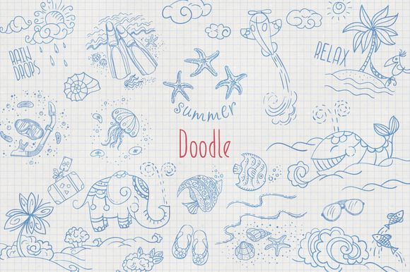 60 Doodle elements for summer design by GivArt on @creativemarket