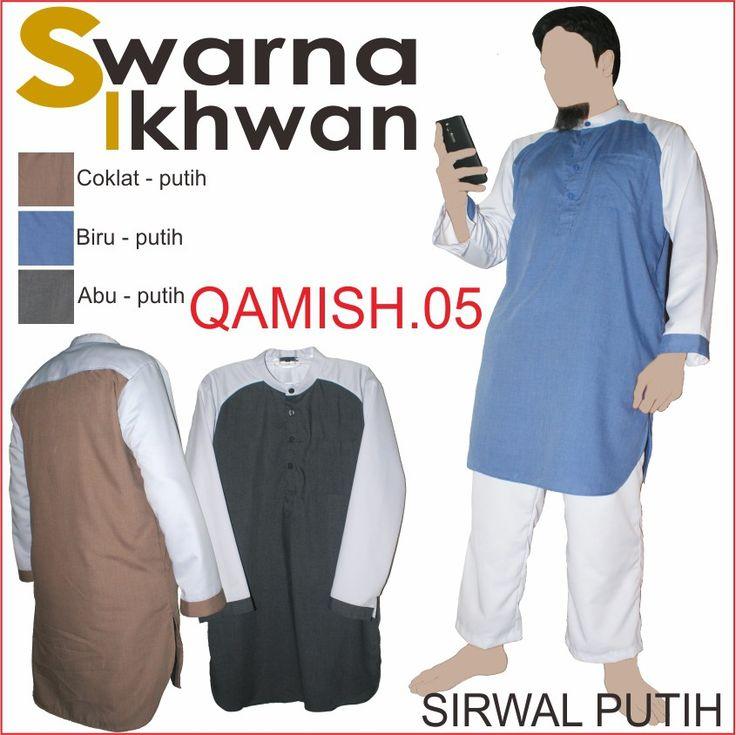 Stelan Baju Gamis Celana Swarna Ikhwan Baju Muslim Pria Setelan Qamis05 Warna Biru, Moka, Hitam