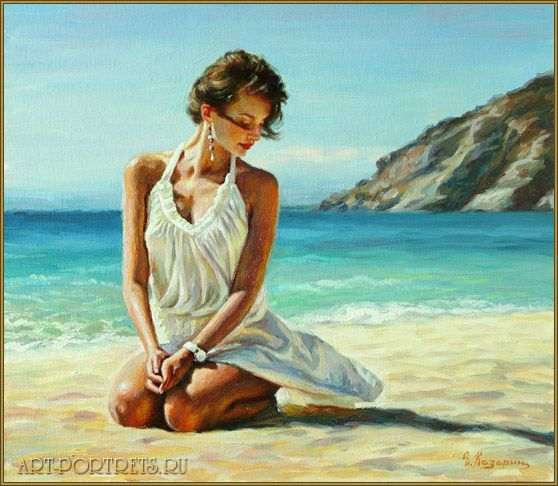 Painting girl on the beach http://www.art-portrets.ru/oil/painting-girl-on-the-beach.html