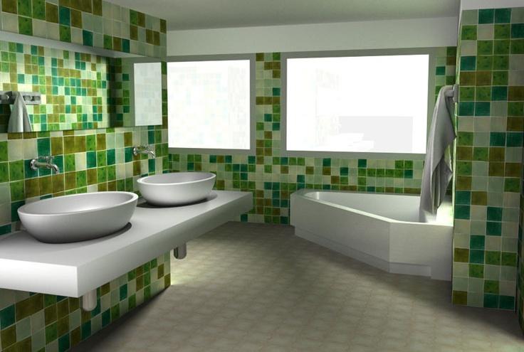 Baños Antiguos Barro:Azulejos #artesanales en distintos tonos de verde que llenan de luz