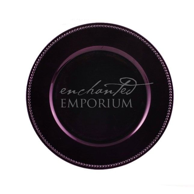 Plum Beaded Charger Plate, Enchanted Emporium