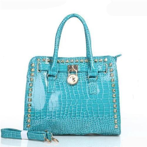 Fashion Michael Kors Hamilton Embossed Stud Medium Blue Totes Online!