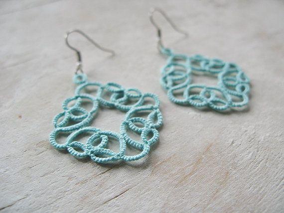 Mint Dangle lace handmade tatted earrings by SouffleShop on Etsy, $20.00