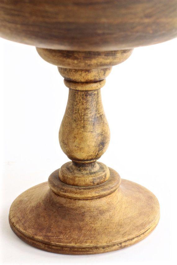 Large vintage wood pedestal bowl very elegant as a table