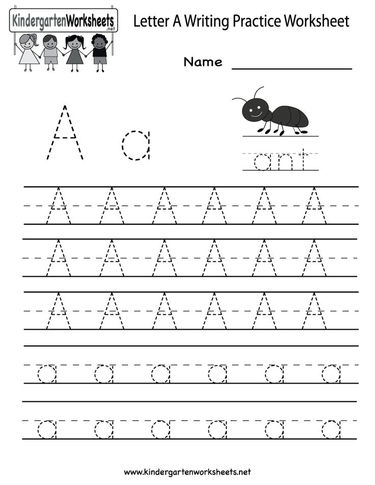 Kindergarten Letter A Writing Practice Worksheet Printable