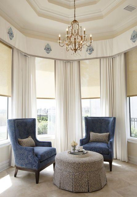 488 best curtains images on pinterest sheet curtains for Bedroom bay window treatments