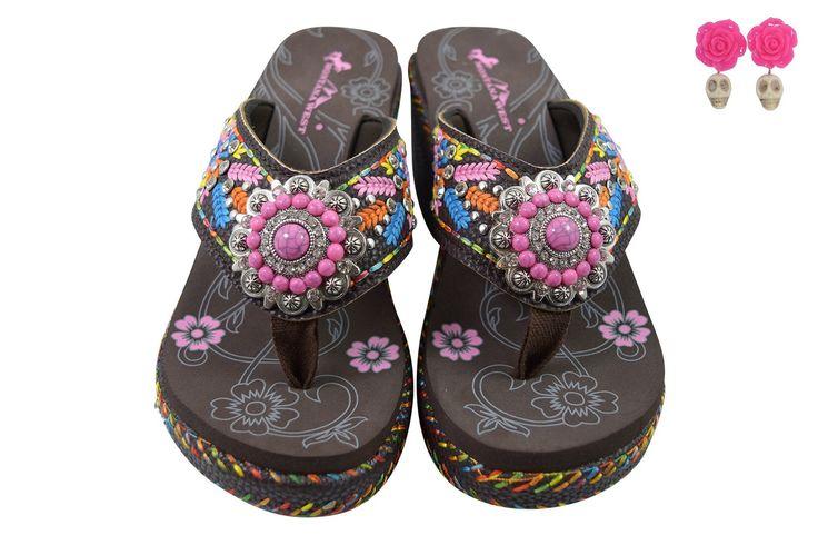 Montana West Aztec Boho Wedge Flower Embroidered Pink Turquoise Concho Platform Flip Flops