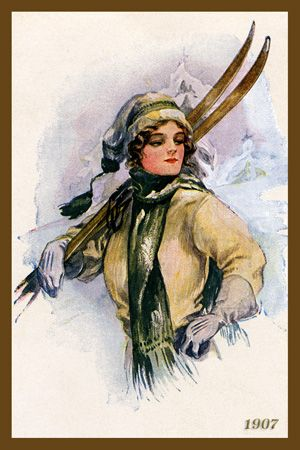 Woman Holding Skis 1907. Quilt Block printed on cotton. Ready to sew.  Single 4x6 block $4.95. Set of 4 blocks with free wall hanging pattern $17.95