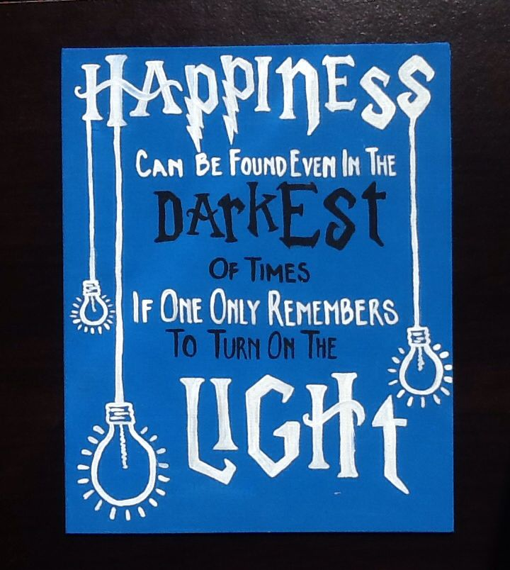 "Harry Potter Quote Canvas Art, ""Happiness can be found even in the darkest of times, if one only remembers to turn on the light"""