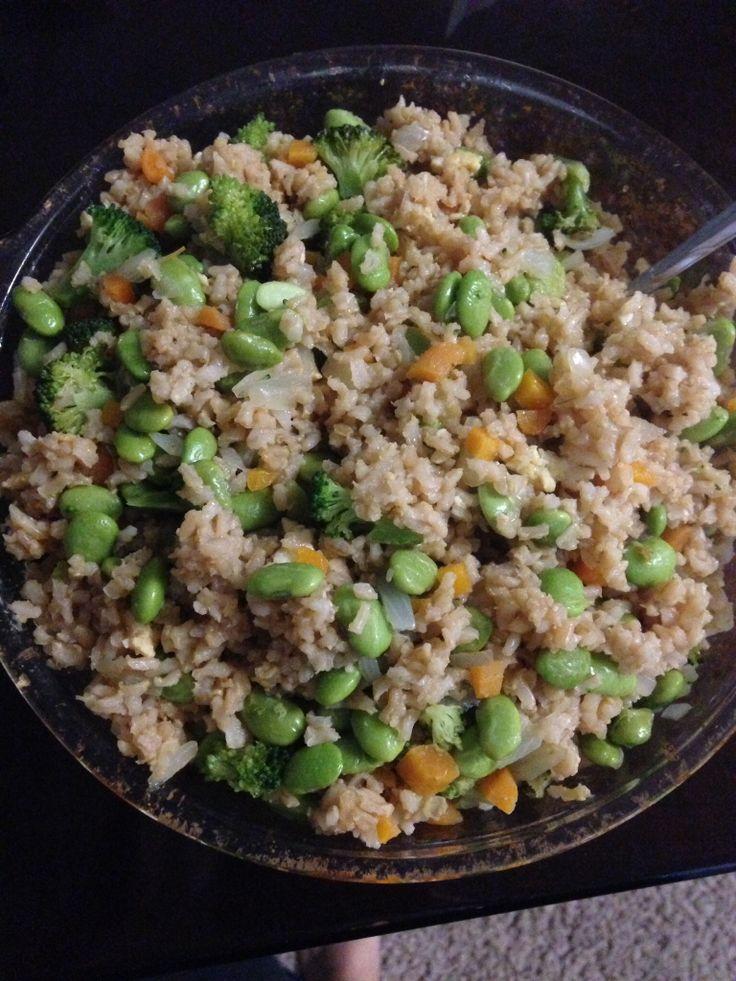 Protein fried rice! Frozen Edamame, half yellow onion chopped, fresh ...