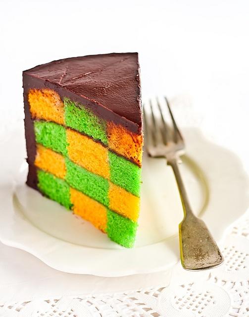 Green & Gold Checkerboard Cake with Milo Ganache by raspberri cupcakes, via Flickr