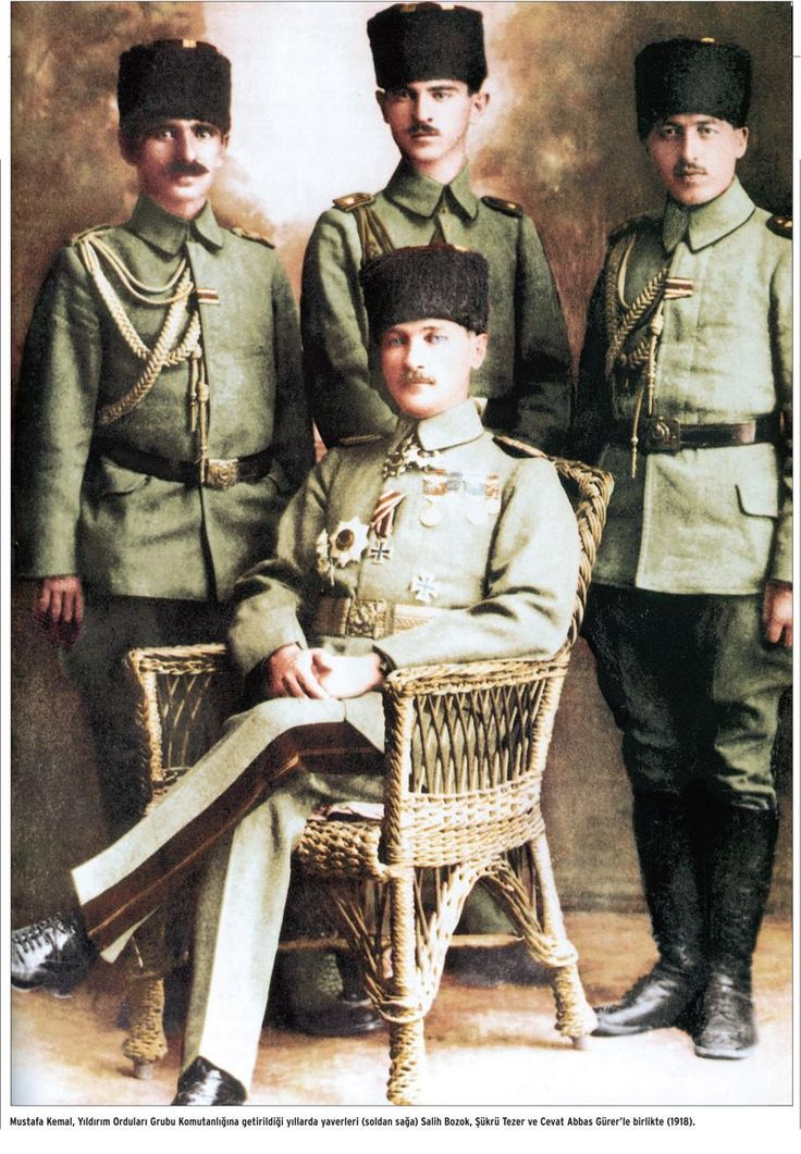 Officers of the Ottoman army, ca. 1920. (seated: Mustafa Kemal Atatürk).