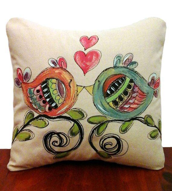 Whimsical Lovebirds Hearts Wedding Gift Home by SippingIcedTea