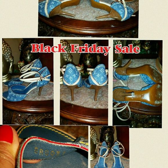 """Authentic Classic denim heels size 38 (7.5) Italy Beautiful authentic classic denim heels with 3"""" heels size 38 (7 1/2).  I'm size 7.5 and this shoes fits well. Made in Italy. Serial number BR0037. Was worn a handful of times only heels are in good condition. It does not come with a box. Asking $280. This bag has a matching bag see my listing price for the bag. Louis Vuitton Shoes Heels"""
