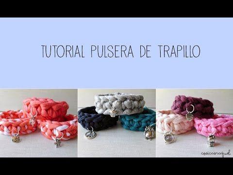 Como hacer pulsera trapillo con trenza de cuatro cabos How to make a four strand brazalet - YouTube