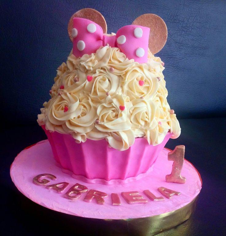 Cupcake gigante de Minnie, rosa y dorado 💕