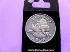 New Old Rare Disney pin Mickey Mouse as George Washington Coin Quarter Dollar