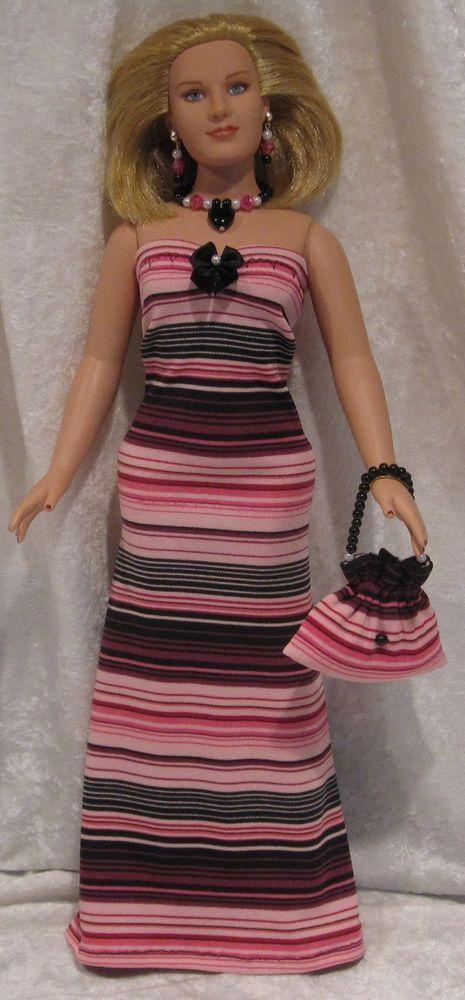 EMME Tonner Full Figure Doll Clothes #14 Dress, Purse, Necklace, Earrings Set #HandmadebyESCHdesigns