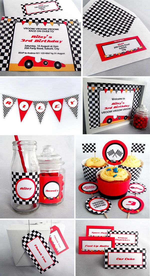 Racing Car Birthday Party - Printables available as an invite pack or complete party pack. Visit www.missshinedesign.co.nz for more information.