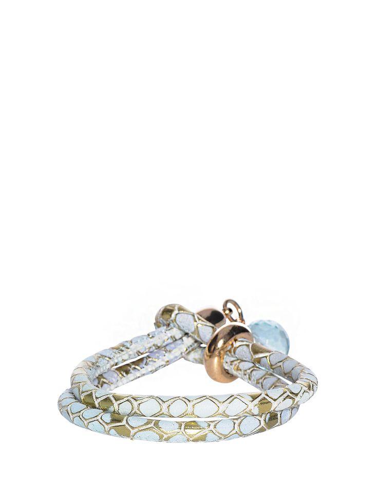 Kathy Кожаный браслет, голубой/золотистый