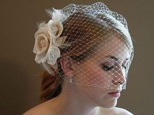 2014 Free Shipping New Arrival Stunning Net Ivory Bird Cage With Flower Wedding Veils