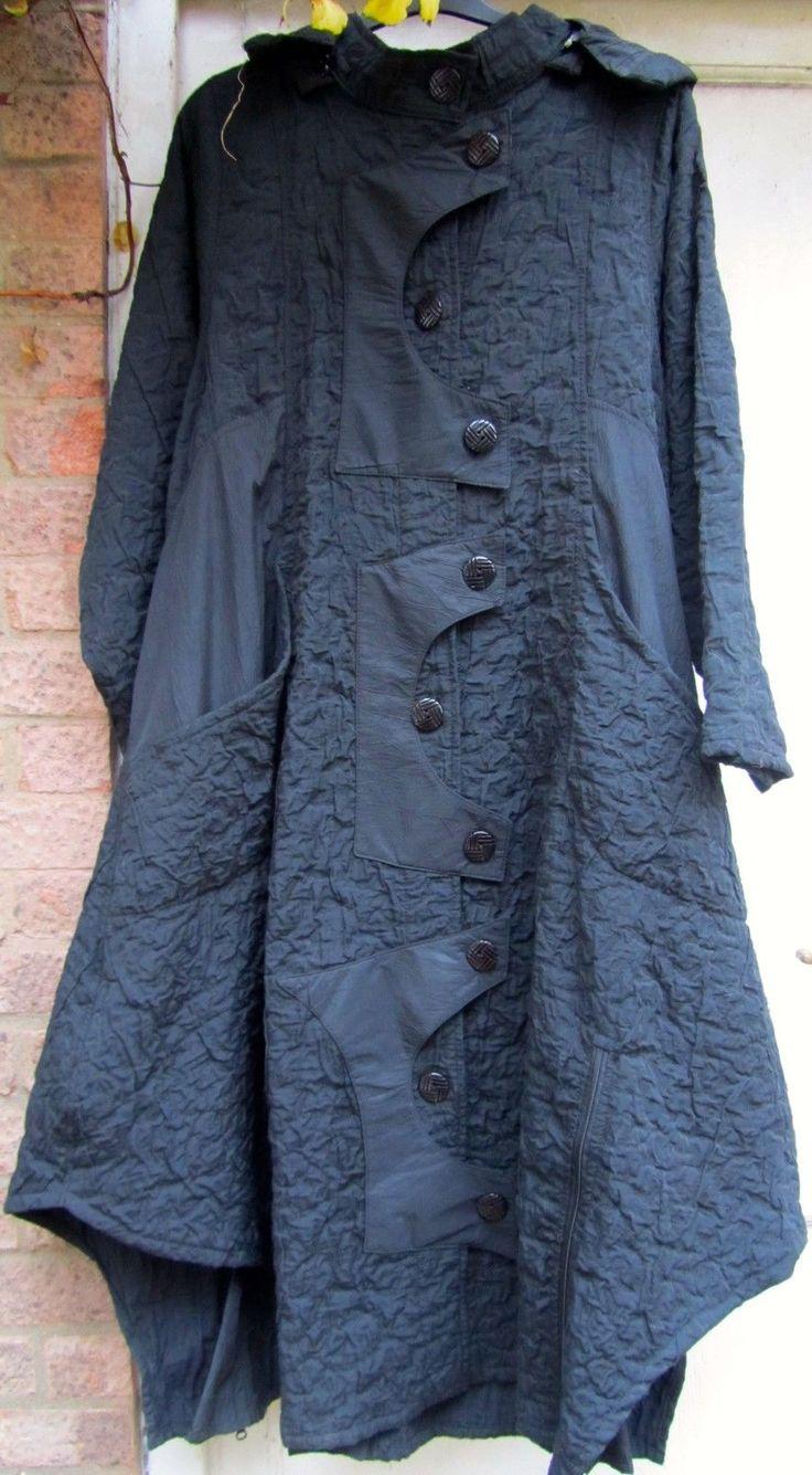 Prisa Unusual Jet Black Coat with zip off hood Lagenlook | eBay
