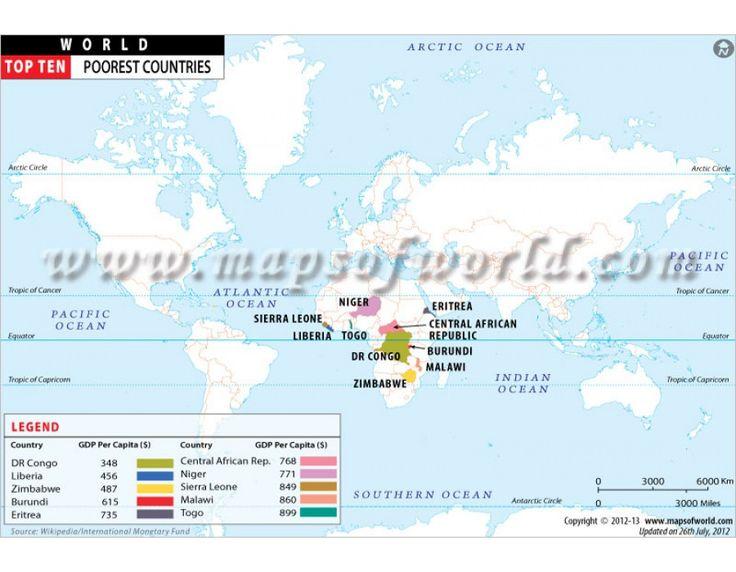 Buy Top Ten Poorest Countries Map Online