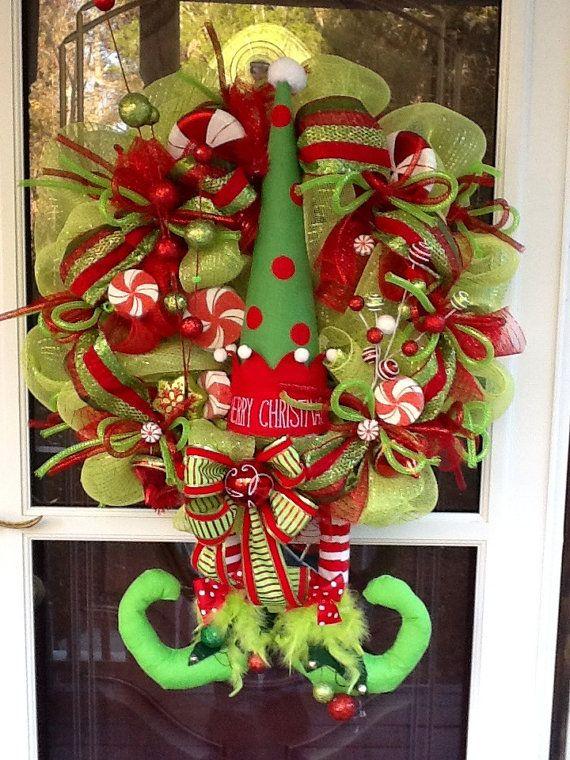Deco mesh Christmas Elf Wreath.