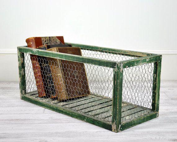 Vintage Wood and Wire Storage Bin / Industrial by havenvintage. Love this!