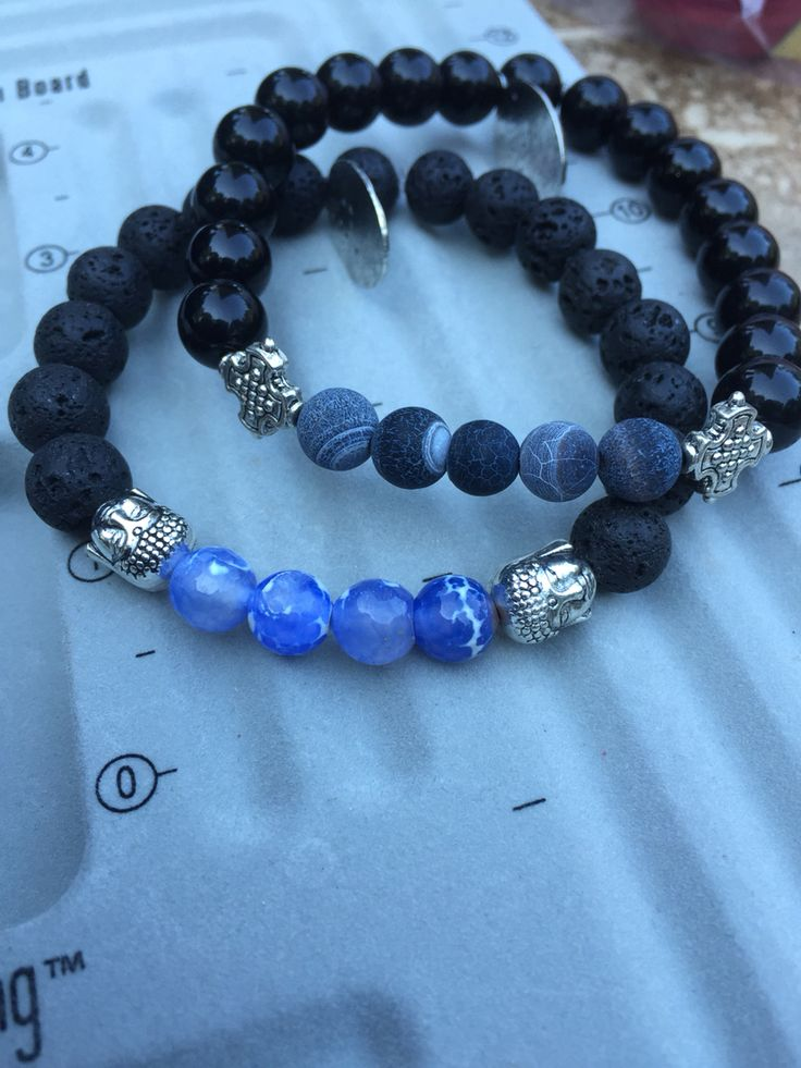 Handmade Bracelet for men Made with Lava Rocks, Blue Jaspers and Agates Made to give you courage and to protect you✨