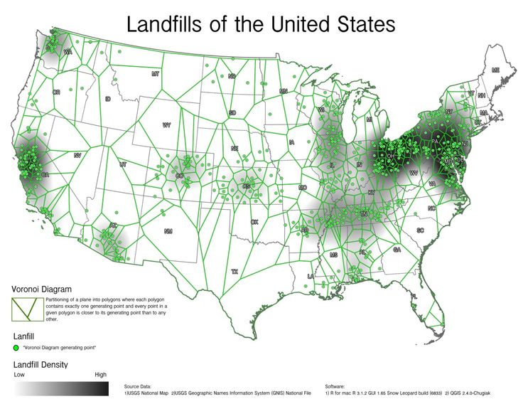 Landfills In The US Petersonj Map Pinterest - Super bowl ads lines on us map