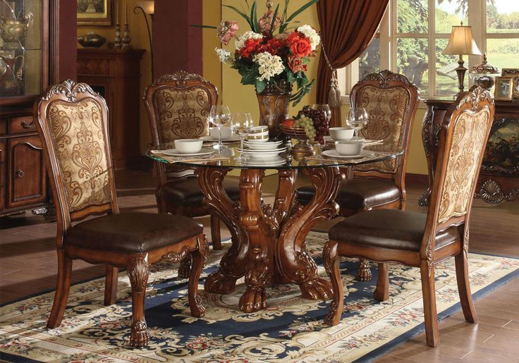 Dining Sets 107578: 5 Pc Dresden Traditional Dining Set Glass Table Top Craw Foot Decor Cherry Oak -> BUY IT NOW ONLY: $1340 on eBay!