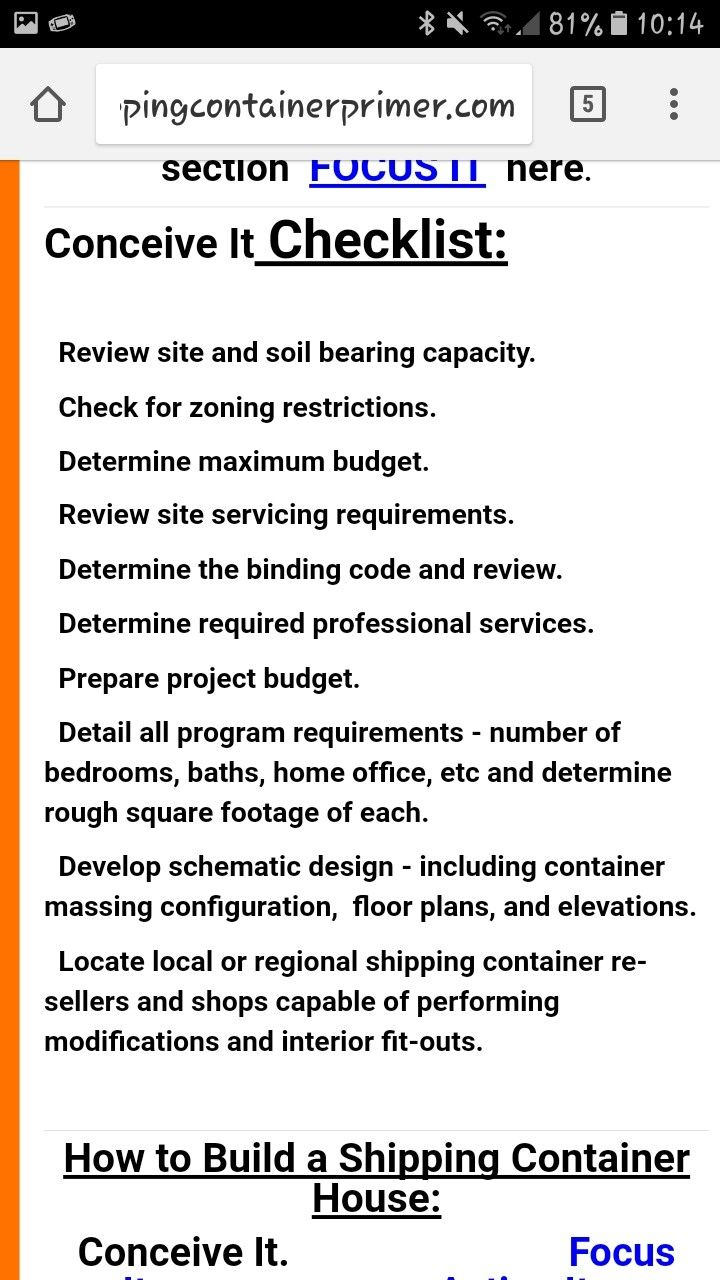 House concept checklist: legal/site requirements/soil bearing capacity