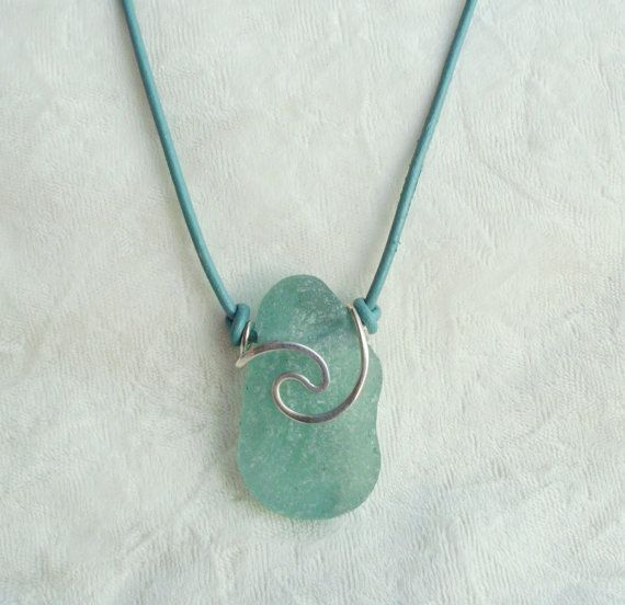 Sea Glass Rip Curl Necklace--- super cool
