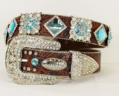 """COWGIRL BLING WESTERN BELT COLOR: BROWN RHINESTONE CRYSTAL FLOWER EDGED BUCKLE RHINESTONE SQUARES AND CONCHOS ALONG 1 1/2"""" BELT STRAP EASY SCREW ON BELT STRAP EASY TO SIZE ALL STONES AND STUDS ARE RIV"""