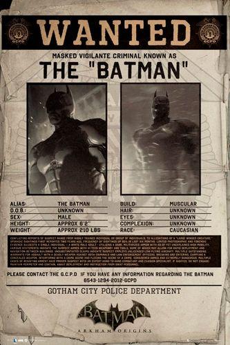"""Poster Jeux Vidéo BATMAN """"Wanted Arkham Origins"""" - Affiche Issue du Jeu Vidéo """"Batman - Arkham Origins"""" Sorti en 2013 Voir Encore Plus de Merchandising BATMAN 100% Officiel"""