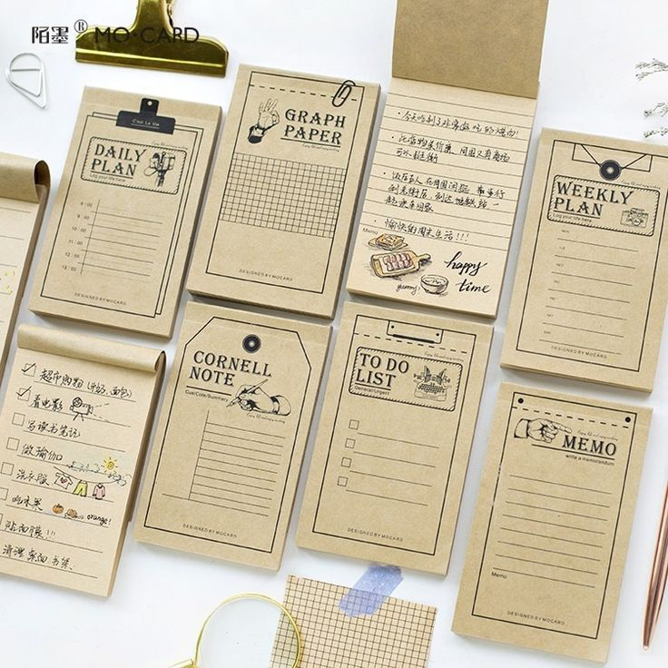 50 Sheets Kraft Paper Thank You Card Christmas Gift: 50 Sheets Portable Study Work Plan Kraft Paper Sticky