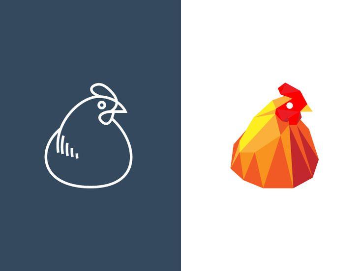 One hen, two logos by Sébastien Grégoire, more logos: http://ibrandstudio.com/inspiration/animal-polygon-logo-designs