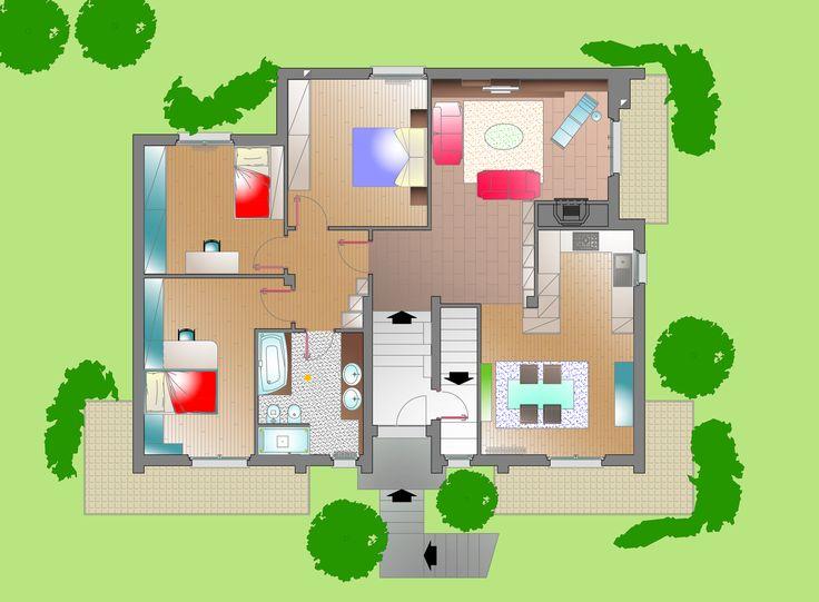 Sistemazione interna e arredo villa unifamiliare pianta for Piccole planimetrie