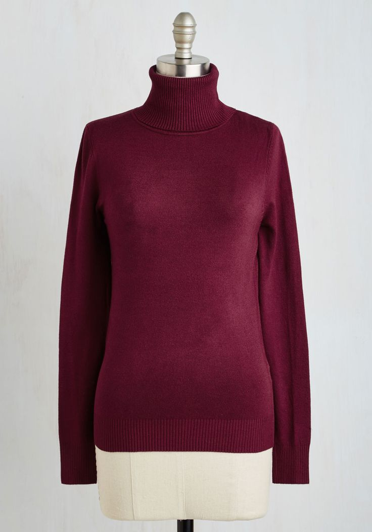 Stick to Classic Sweater in Bordeaux. You know the importance of staple pieces - thats why you always reach for this turtleneck sweater to set the foundation for some seriously inspiring looks! #red #modcloth