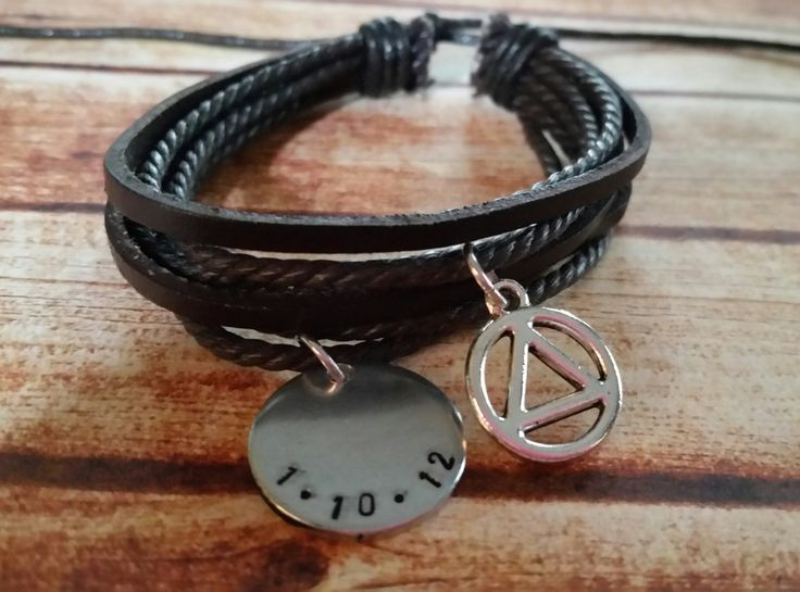 sobriety bracelet sobriety date jewelry sobriety gift addiction recovery unisex leather bracelet sobriety charm personalized date sobriety by TiffysLove on Etsy