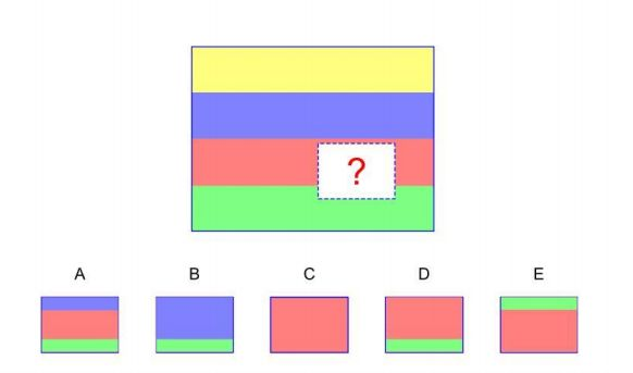Parent, tell your child this: Look at the pattern on top. A piece has been taken out of it. Find the piece below the pattern that goes where the question mark is in order to complete the pattern. #nnat