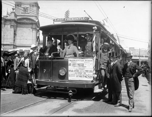 Tram, of Fremantle Municipal Tramways, outside Fremantle Town Hall, Perth. 1905.